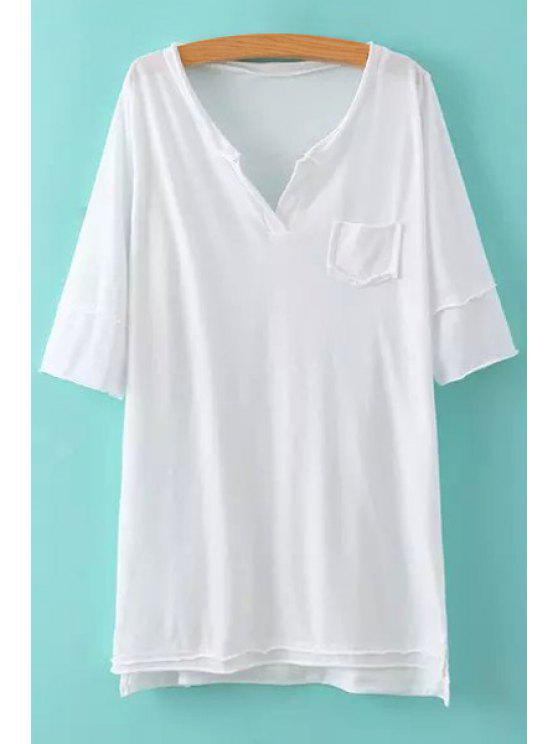 affordable Solid Color Asymmetrical Half Sleeve Dress - WHITE ONE SIZE(FIT SIZE XS TO M)