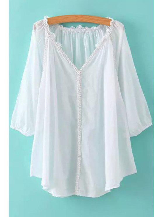 hot Solid Color Lace Edging 3/4 Sleeve T-Shirt - WHITE ONE SIZE(FIT SIZE XS TO M)