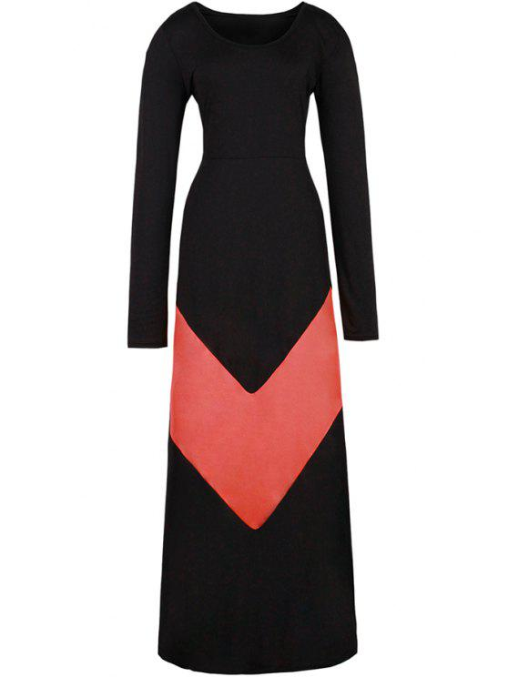trendy Color Block Long Sleeves Maxi Dress - RED WITH BLACK M
