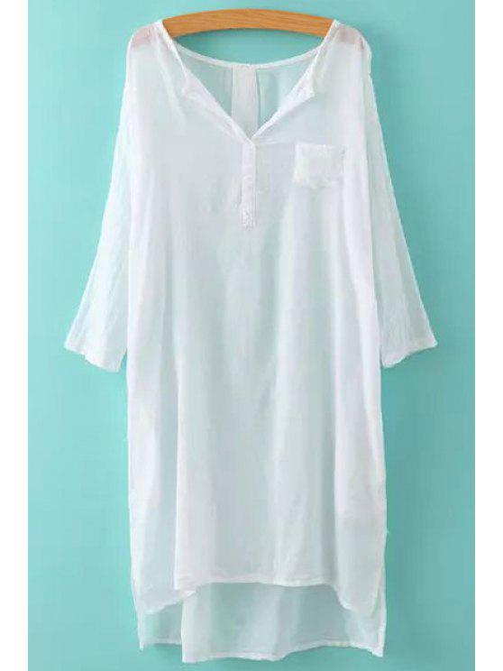 women's Solid Color Side Slit Asymmetrical 3/4 Sleeve Dress - WHITE ONE SIZE(FIT SIZE XS TO M)
