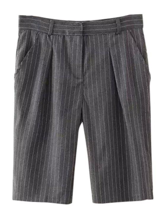 ladies Stripe Ruffle Zipper Fly Shorts - GRAY S