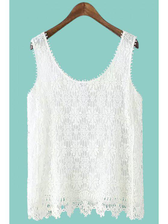 latest Scoop Neck Floral Pattern Lace Tank Top - WHITE M