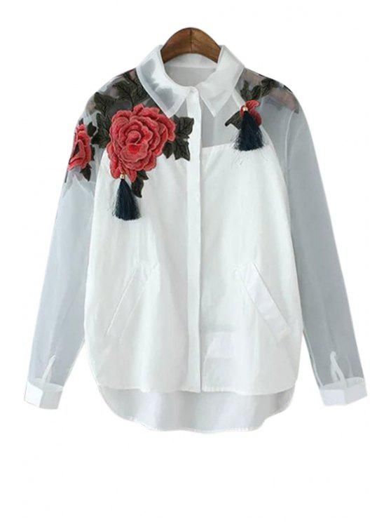 new Floral Embroidery Voile Splicing Tassel Shirt - BLACK AND WHITE AND RED S