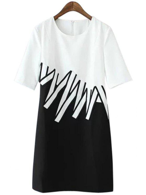 online Jewel Neck Color Block Stripe Dress - WHITE AND BLACK S