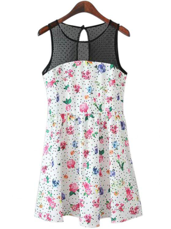 sale Polka Dot Floral Print Voile Splicing Dress - COLORMIX L