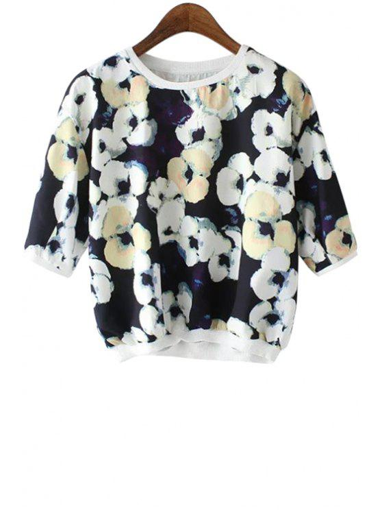 ladies Floral Print Short Sleeve Blouse - BLACK S
