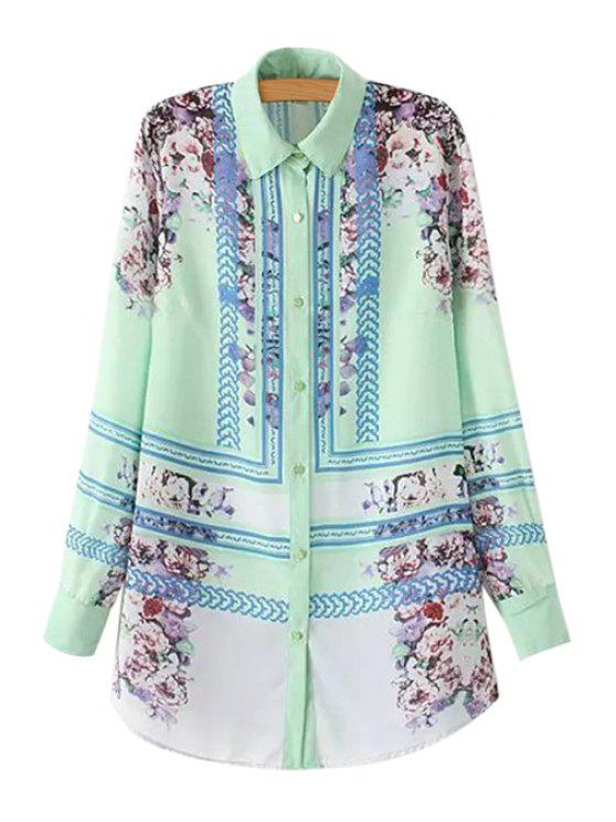 outfits Polo Collar Long Sleeve Floral Print Shirt - LIGHT GREEN S