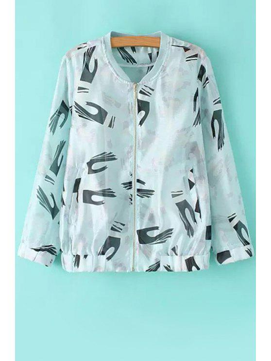 best Palms Print Long Sleeve Coat - WHITE AND BLACK S