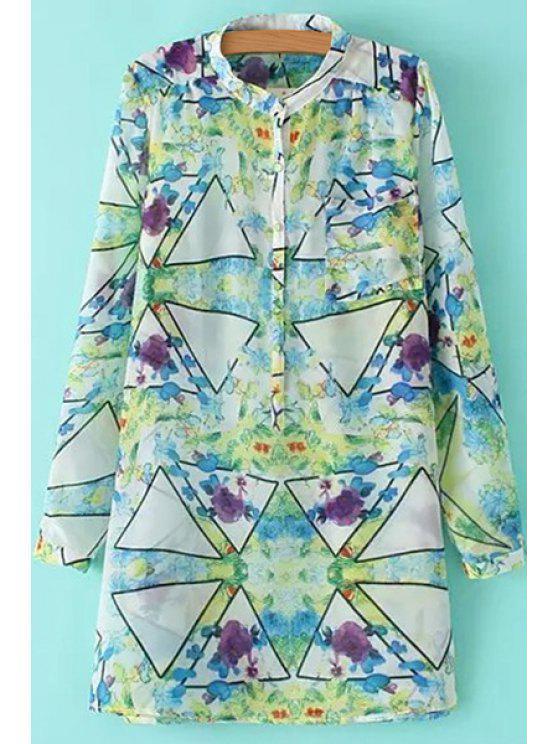 fancy Triangle Pattern Print Long Sleeve Shirt - CELADON S
