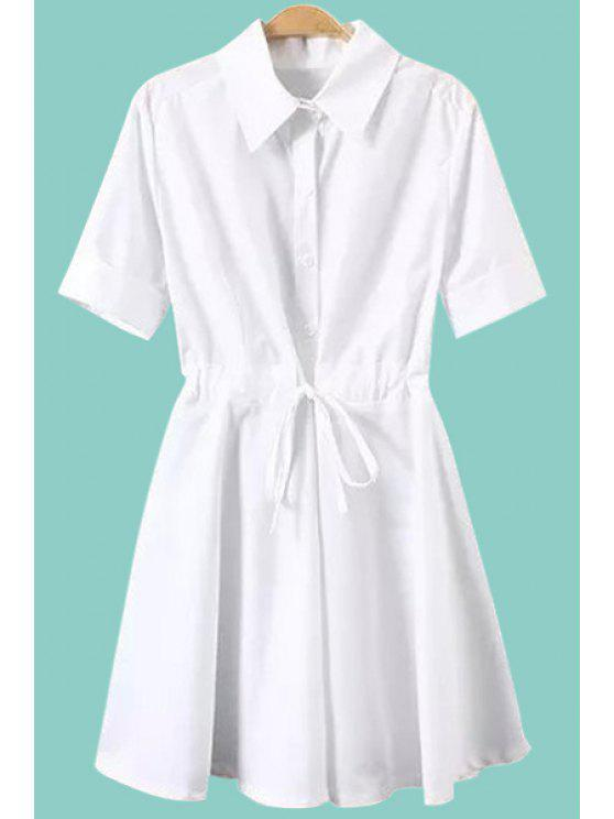 unique Turn-Down Collar Solid Color Tie-Up Dress - WHITE S