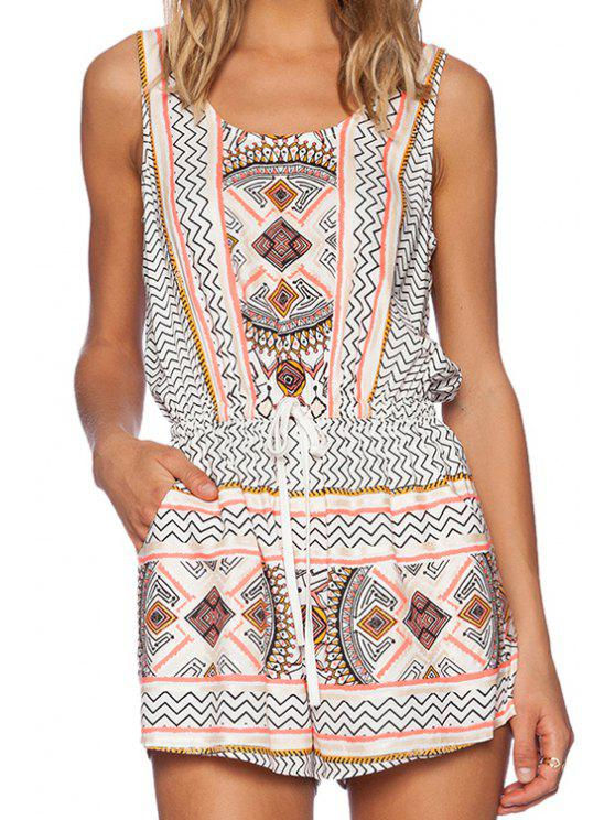 ladies Apricot Sleeveless Tribal Romper - WHITE M