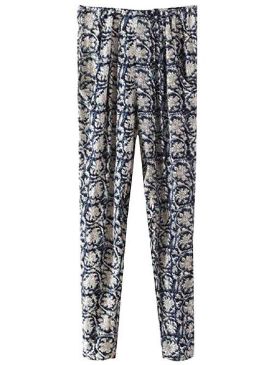 outfit Retro Floral Elastic Waisted Pants - PURPLISH BLUE S