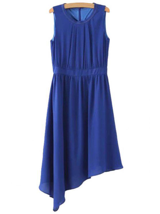 women Blue Irregular Hem Sundress - BLUE M