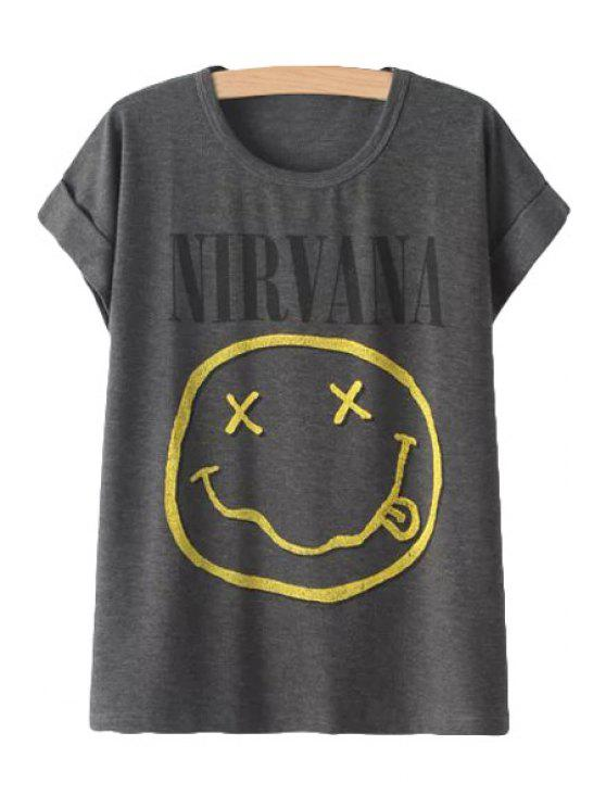 hot Smiley Face Print Short Sleeve T-Shirt - GRAY ONE SIZE(FIT SIZE XS TO M)