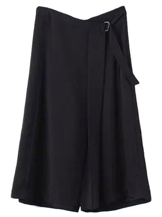 best Solid Color Wide Leg Capri Pants - BLACK M