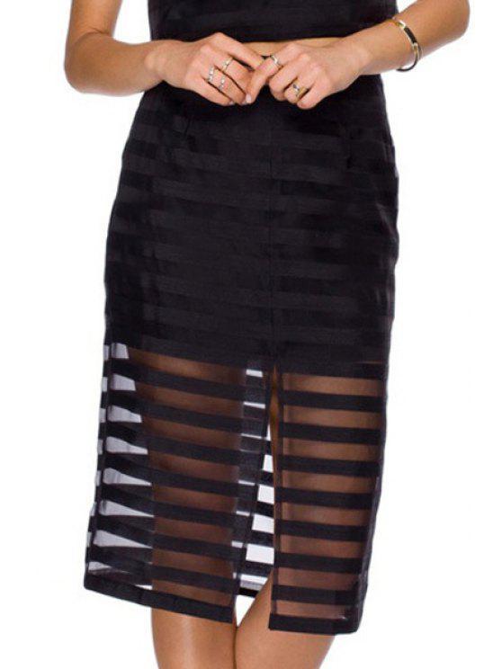 hot Solid Color Stripe Voile Splicing Slit Skirt - BLACK XS