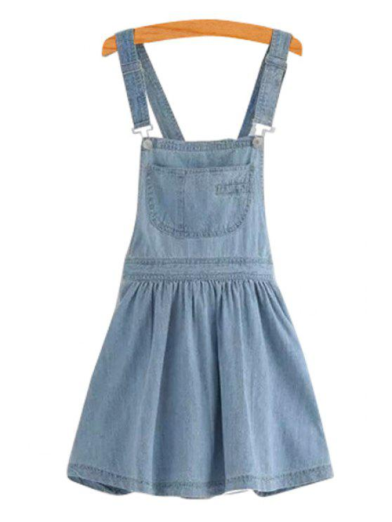 latest Blue Pocket Straps Denim Dress - LIGHT BLUE S