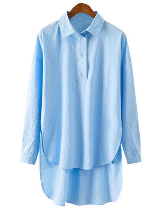 hot High-Low Hem Long Sleeve Shirt - BLUE S