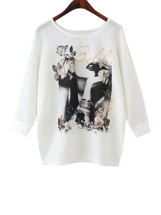 fashion Beauty Print Long Sleeve T-Shirt - WHITE S