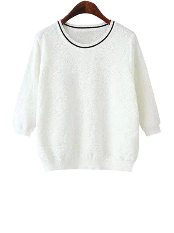 chic White Half Sleeve Knitwear - WHITE S