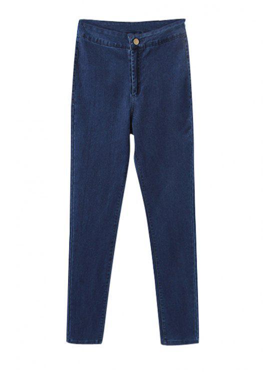 shop Solid Color Narrow Feet Elasticity Pants - DEEP BLUE 26
