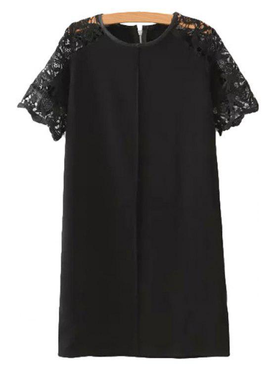womens Lace Spliced Short Sleeve Dress - BLACK S
