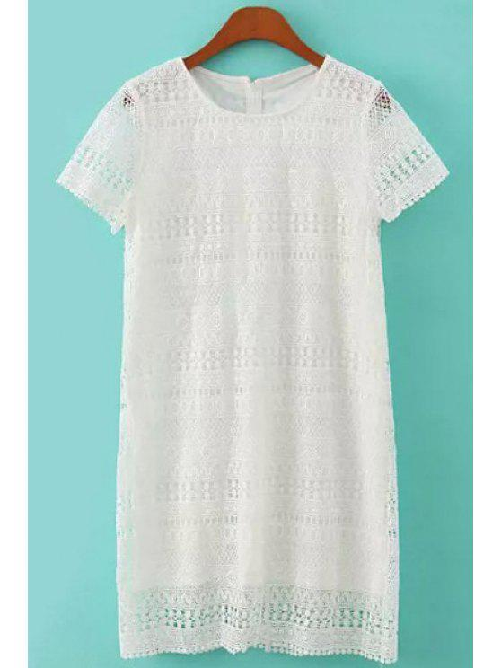 sale Short Sleeve White Lace Dress - WHITE S