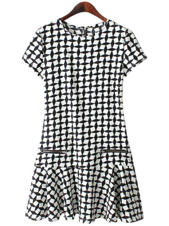 affordable Checked Ruffles Short Sleeve Dress - CHECKED S