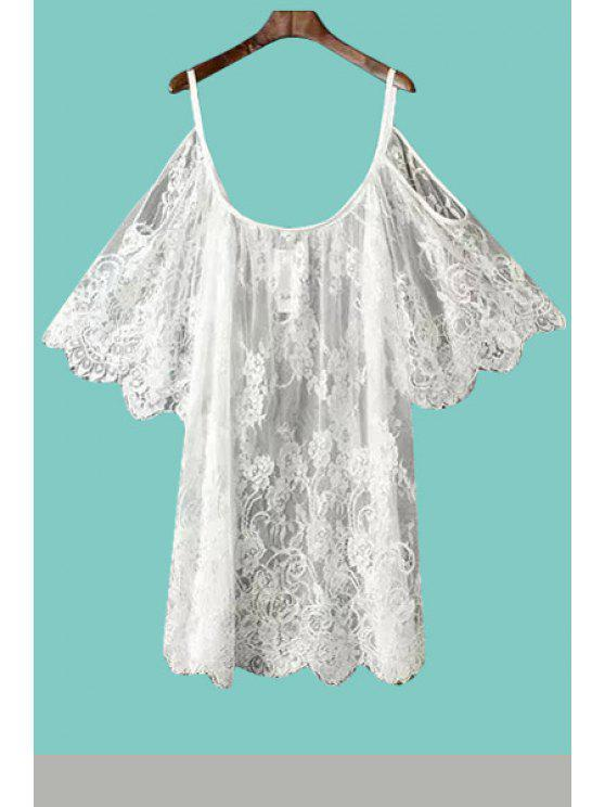 chic Lace Off-The-Shoulder Blouse - WHITE S