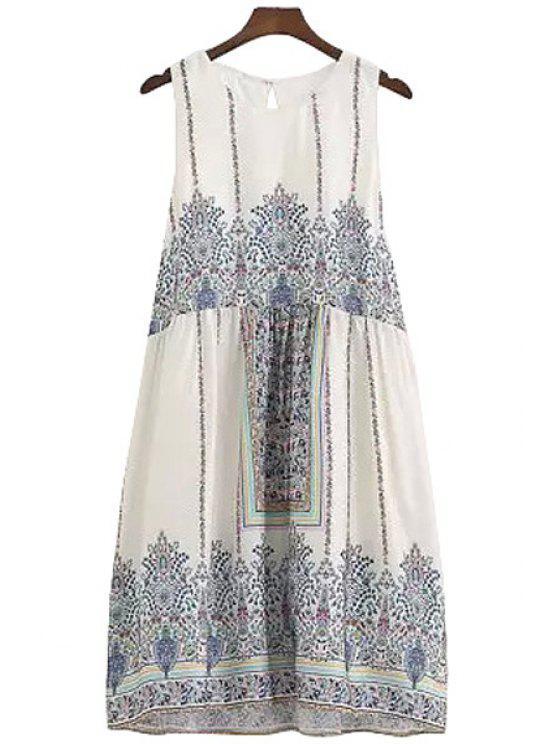 online Retro Print A-Line Sundress - PURPLISH BLUE S