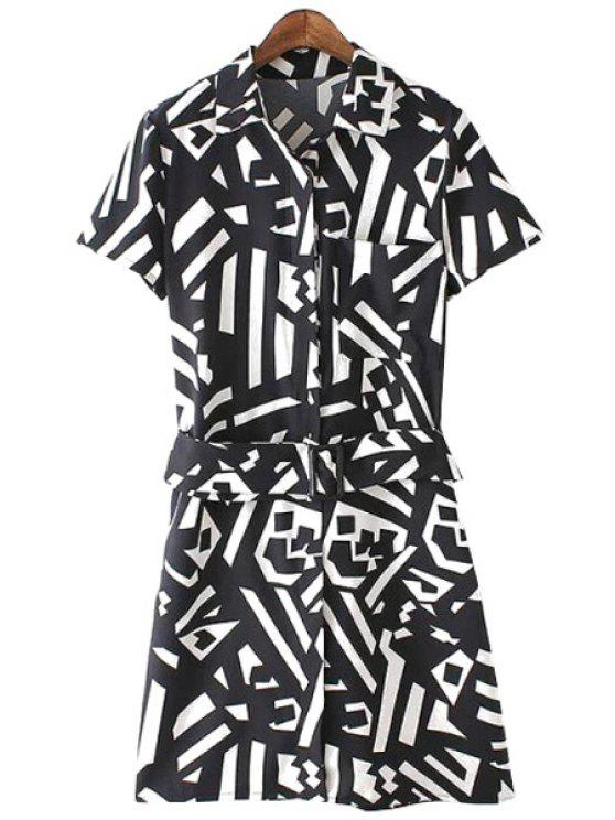 trendy Geometric Print Short Sleeve Dress - WHITE AND BLACK S
