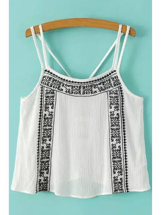 chic Embroidery Spaghetti Strap Tank Top - WHITE S