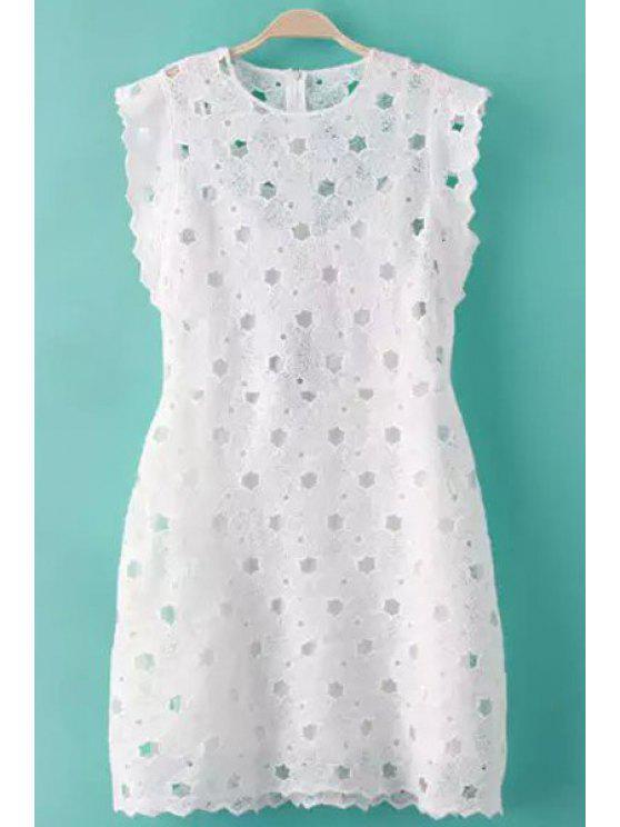 shop Sleeveless White Hollow Dress - WHITE S