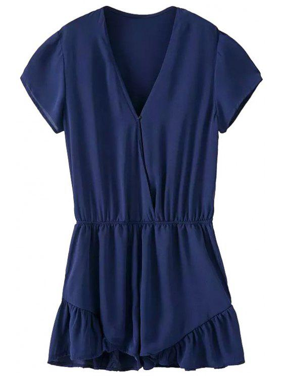 online Short Sleeve Solid Color Ruffles Romper - BLUE S
