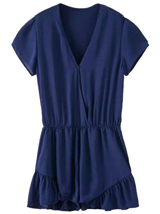 online Short Sleeve Solid Color Ruffles Romper - BLUE S
