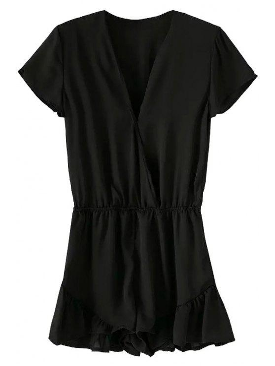 women Short Sleeve Solid Color Ruffles Romper - BLACK M
