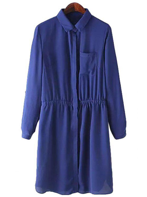 fancy Blue Turn-Down Collar Long Sleeve Dress - BLUE S