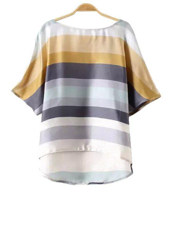 hot Colorful Striped Half Sleeve T-Shirt - COLORMIX S
