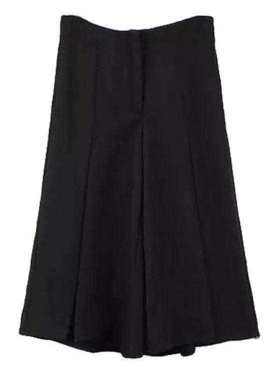 fashion Wide Leg Black Capri Pants - BLACK S