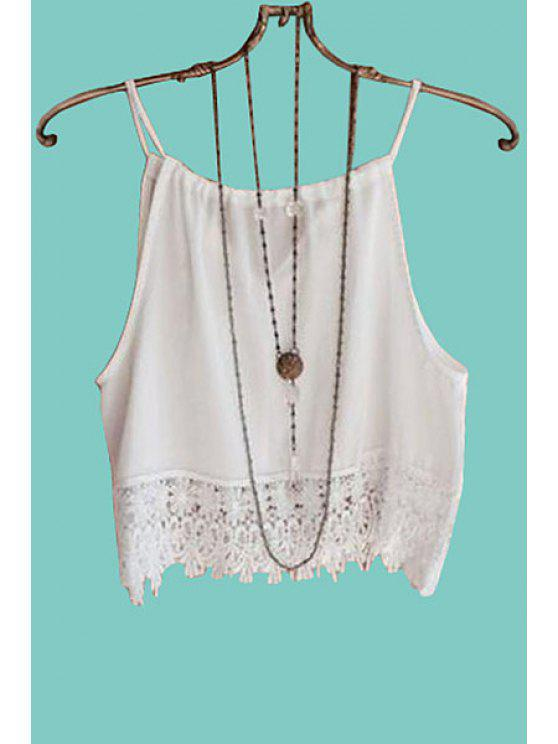 buy Solid Color Lace Splicing Tank Top - WHITE L