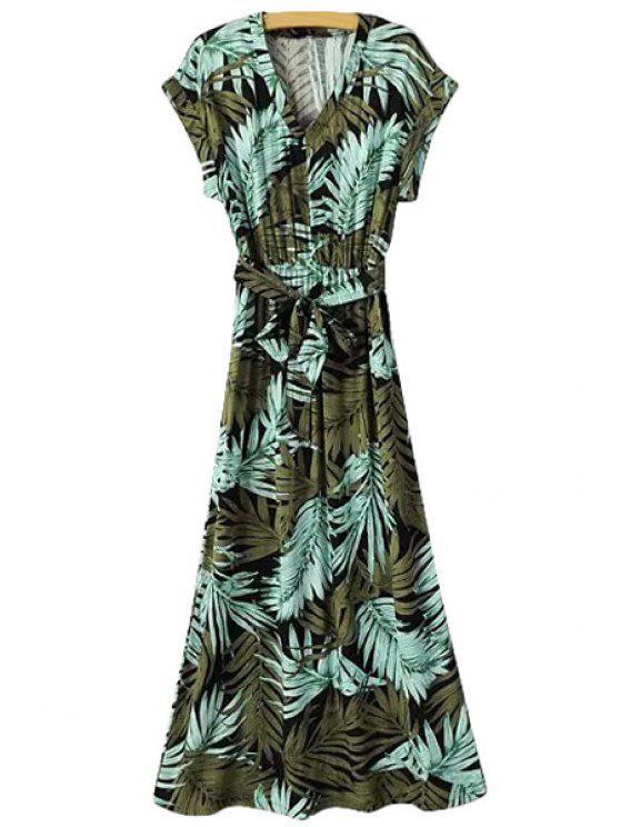 lady Leaf Print Short Sleeve Maxi Dress - GREEN S
