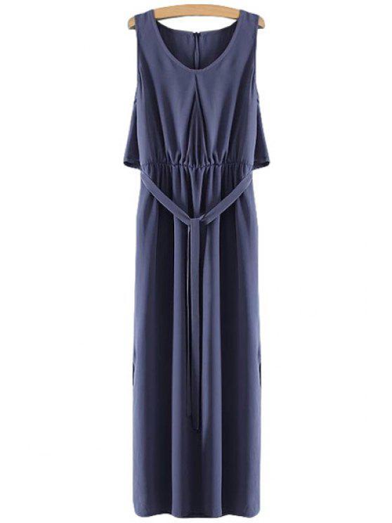 new Solid Color Side Slit Sleeveless Maxi Dress - PURPLISH BLUE S