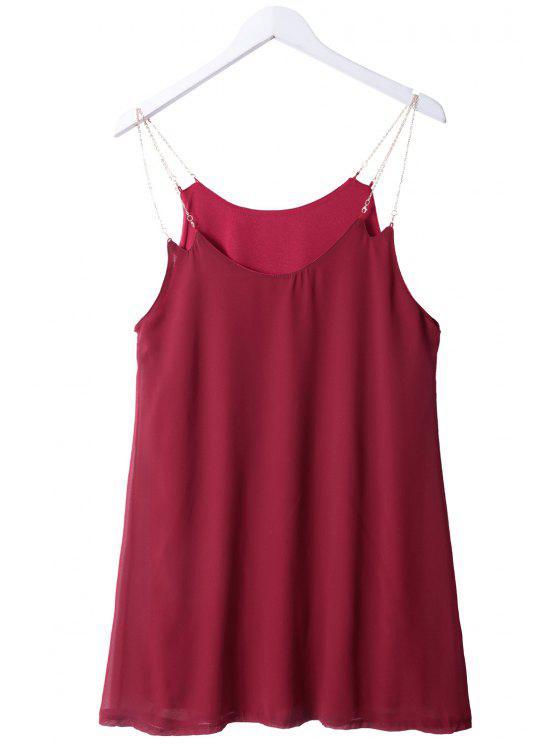 new Solid Color Chain Spaghetti Straps Dress - WINE RED S
