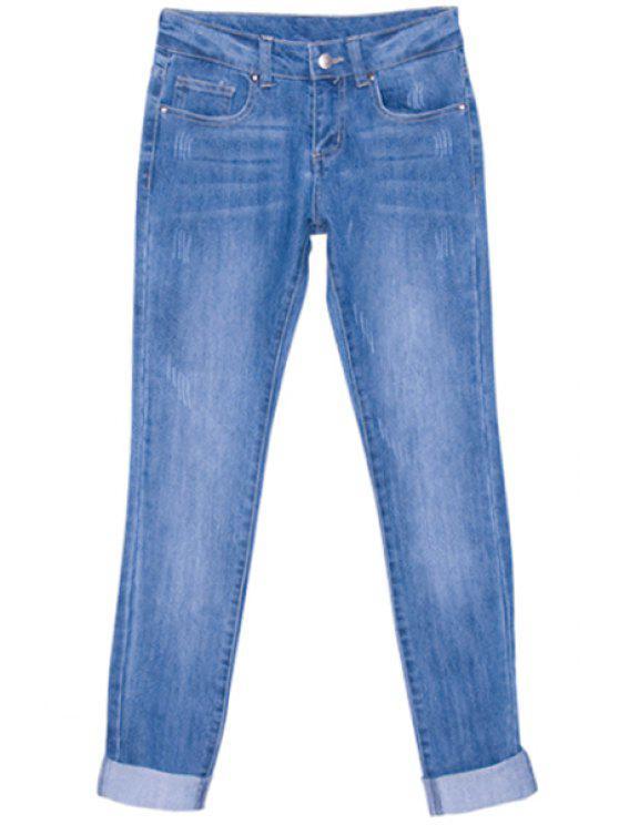 shop Solid Color Low Waisted Jeans - LIGHT BLUE 26