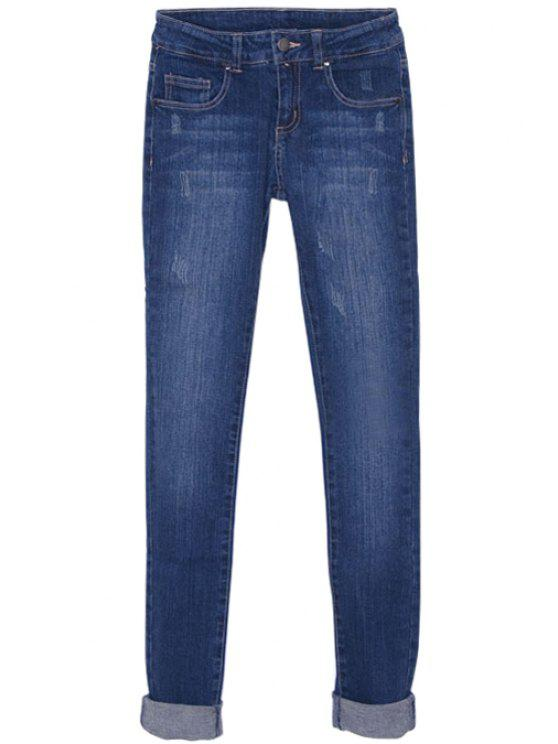 buy Solid Color Low Waisted Jeans - DEEP BLUE 26