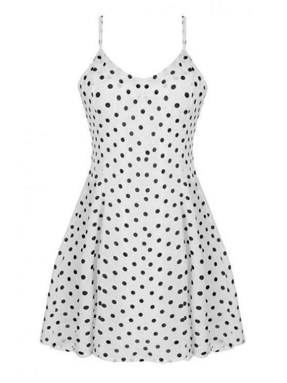 hot Spaghetti Strap Polka Dot Sleeveless Dress - WHITE L
