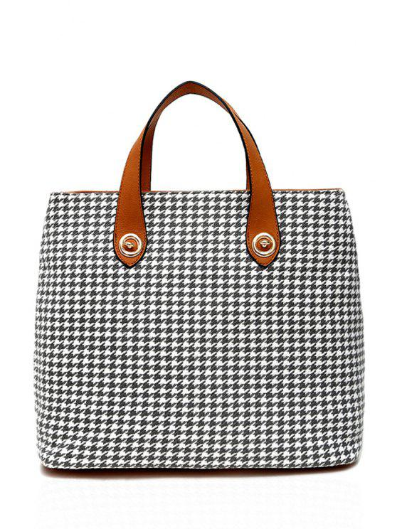 women Houndstooth Pattern Canvas Tote Bag - GRAY