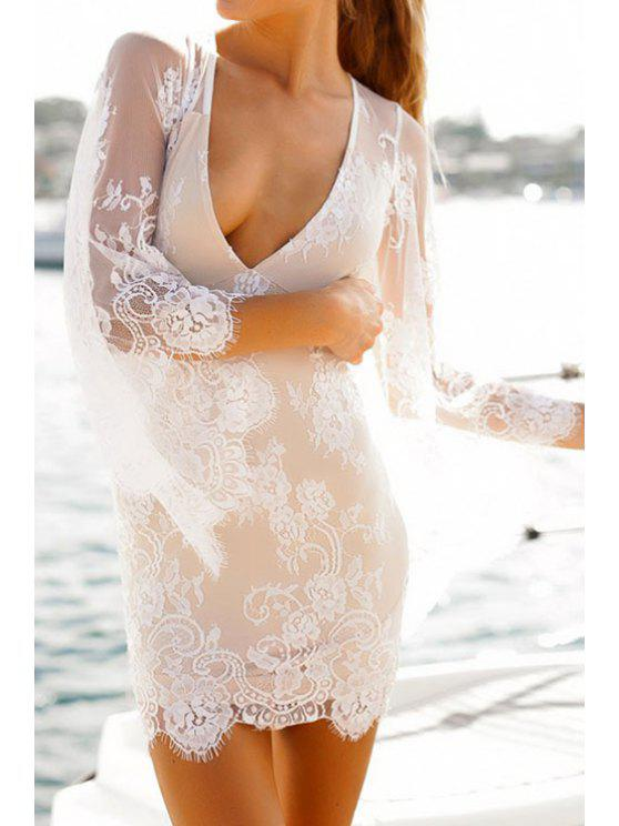 sale Plunging Neck See-Through Lace 3/4 Sleeve Dress - WHITE S