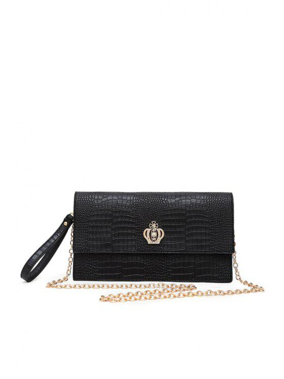lady Crocodile Print Crown Clutch Bag - BLACK