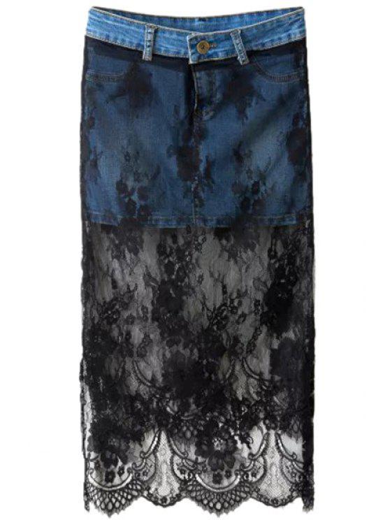 women's Lace Spliced Denim Skirt - DEEP BLUE S
